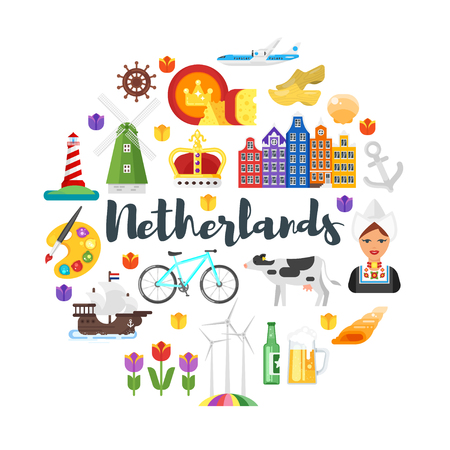 holland: Vector flat style circle shape composition of Netherlands national cultural symbols. Template for banner or poster for tourist. Isolated on white background. Illustration