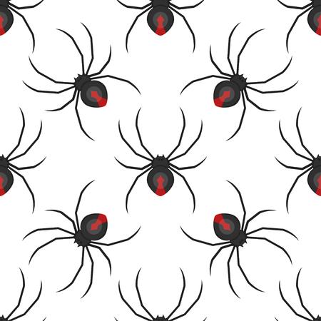 Patrón transparente de vector estilo plano con araña viuda negra peligrosa.
