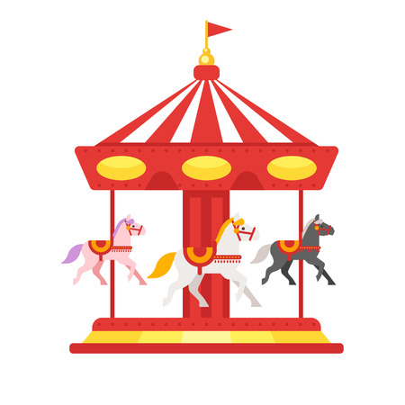 Vector flat style illustration of carousel. Isolated on white background. Icon for web.
