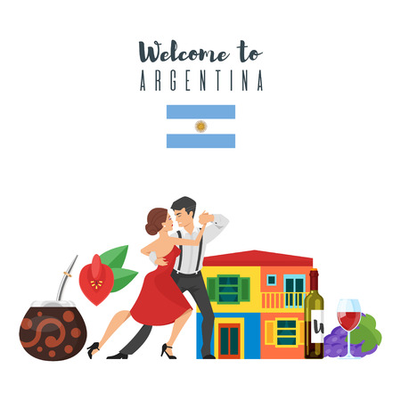 Vector flat style set of Welcome to Argentina template for web banner or poster for tourist. Canadian national cultural symbols. Isolated on white background. Illustration