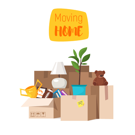 Vector cartoon style illustration of paper boxes with various things from house. Concept for home moving. Isolated on white background.  イラスト・ベクター素材