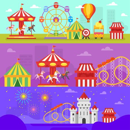 Vector flat style set of amusement park for kids banners template.