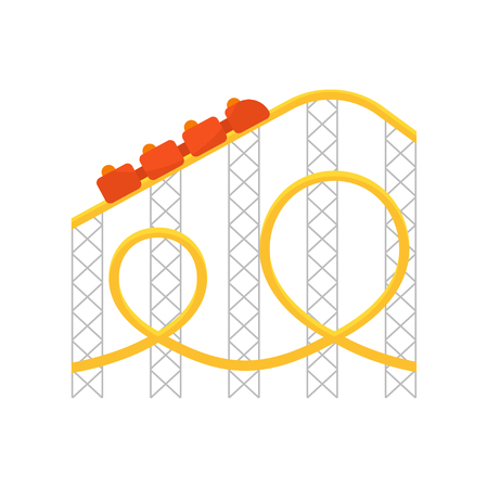 Vector flat style illustration of roller coaster. Isolated on white background. Icon for web.