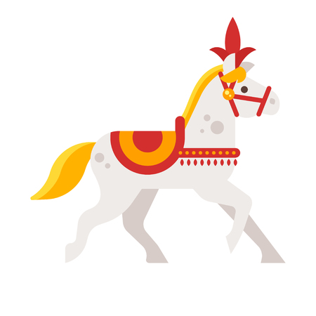 Vector flat style illustration of circus white horse. Isolated on white background. Icon for web.