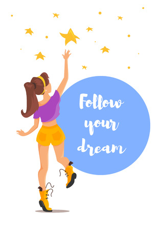 Vector flat style illustration of girl trying to reach the star. Follow your dream motivational poster. Isolated on white background.