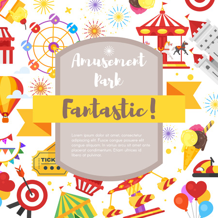 Vector flat style composition for flyer with amusement park fun icons. Illustration