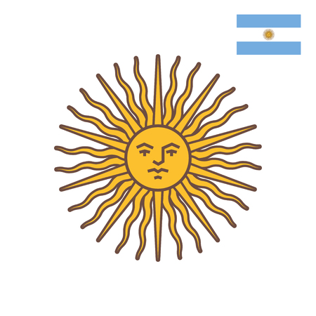 Vector flat style illustration of symbol of Argentina - Sun of May. Isolated on white background. Icon for web. Иллюстрация