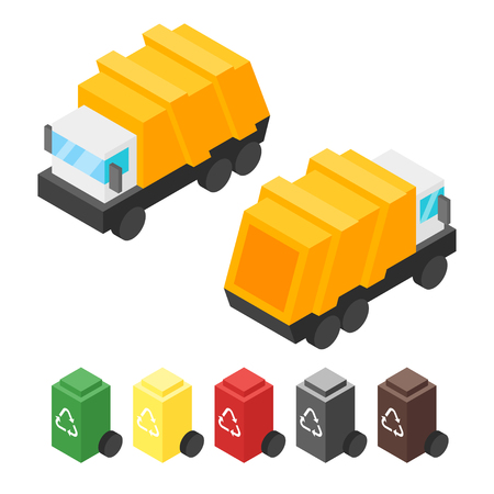 Vector isometric garbage truck. Back and front view. Icon for web. Isolated on white background. Illustration