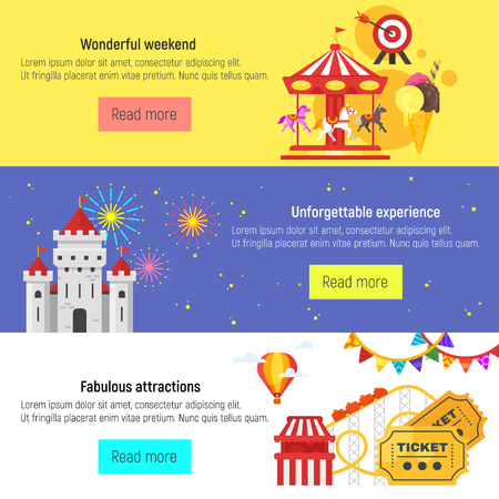 Vector flat style set of amusement park for kids banners template. Stock Vector - 79474185