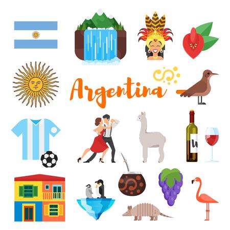 Vector Flat Style Set Of Argentina National Cultural Symbols
