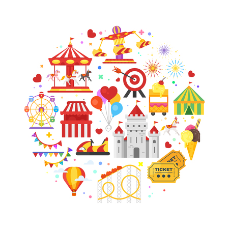 Vector flat style round composition of amusement park symbols. Isolated on white background.