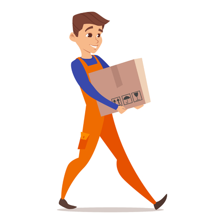 Vector happy cartoon character of home mover worker carrying cardboard box. Isolated on white background.