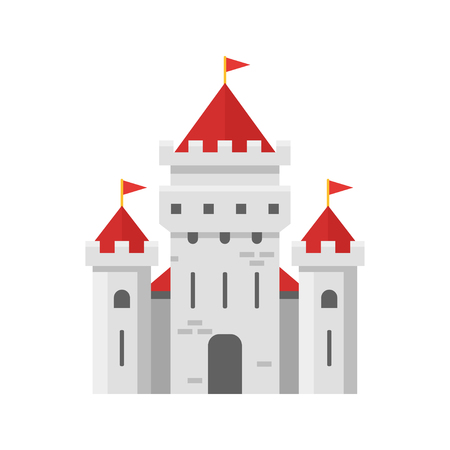 Vector flat style illustration of fairy castle. Isolated on white background. Icon for web. Illustration