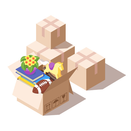 Vector isometric illustration of paper boxes with various things from house. Concept for home moving. Isolated on white background. Illustration