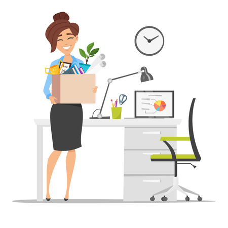 Vector flat style illustration of successful smiling business woman holding cardboard box with work stuff at a new workplace. New job concept. Isolated on white background.