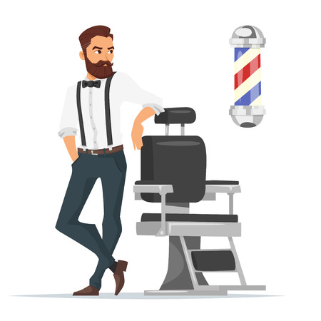 Vector cartoon style illustration of barber. Concept for barbershop. Isolated on white background. Çizim