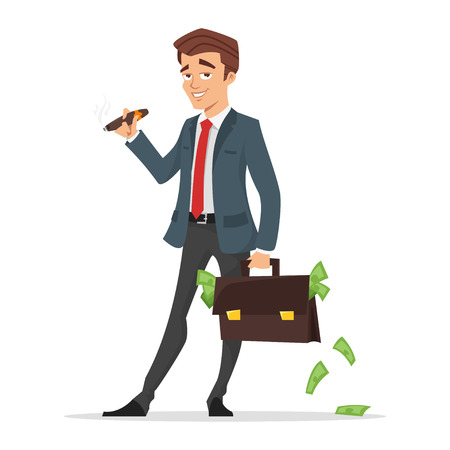 Vector Karikaturartillustration des erfolgreichen Geschäftsmannes , der einen Kasten voll des Geldes hält . Getrennt auf weißem Hintergrund