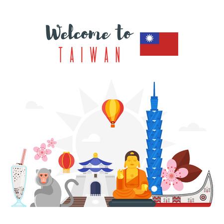 Vector de composición de estilo plano de símbolos culturales de Taiwán. Plantilla para la bandera o el cartel para el turista. Aislados en fondo blanco