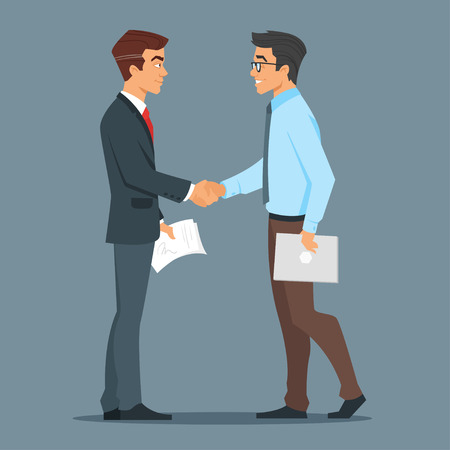 Vector cartoon style characters. Two businessman handshake. Good deal. Concept of business partnership. Vectores