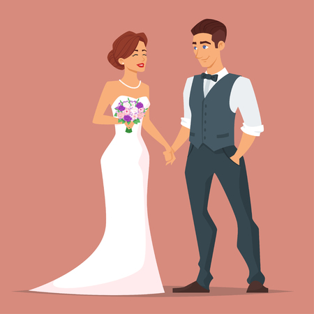Vector cartoon style illustration of characters man and woman. Young happy newlyweds bride and groom. Just married couple. 矢量图片