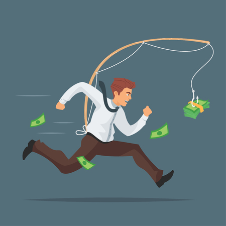 Vector cartoon style illustration of businessman chasing after money.