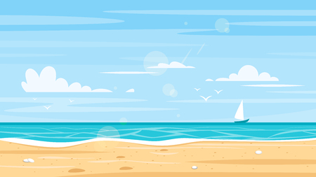 Vector cartoon style background of sea shore. Good sunny day.