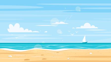 Fond de style dessin animé de vecteur du bord de la mer. Bonne journée ensoleillée.