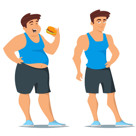 Vector cartoon style illustration of fat and slim man in sport wear. Before and after weight loss concept. Isolated on white background. Stock Illustratie