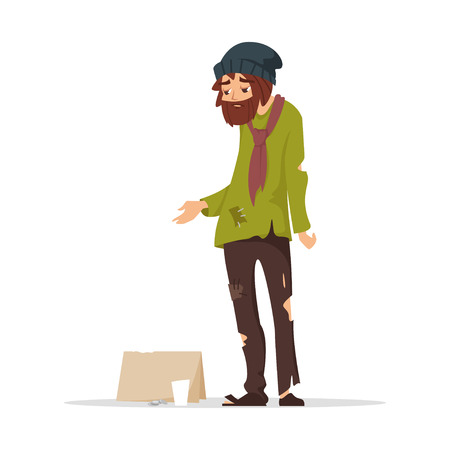 Vector cartoon style illustration of poor man in torn clothes begging money. Isolated on white background. Иллюстрация