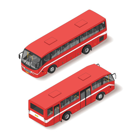 Vector 3d realistic isometric illustration of red bus. Back and front view. Isolated on white background.