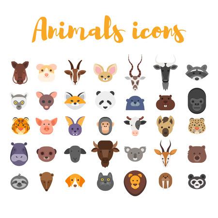 Vector estilo plano conjunto de iconos web animales. Aislado en el fondo blanco. Vectores