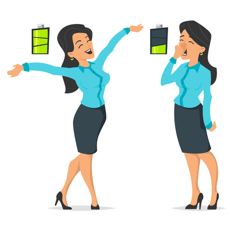 Vector cartoon style illustration of full of energy businesswoman and tired or boring woman. Icon of battery. Isolated on white background.