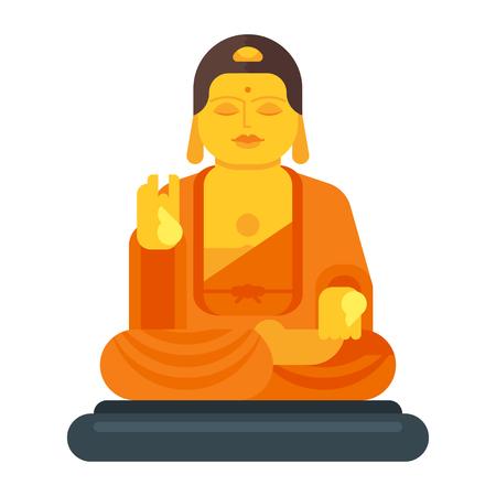 Vector flat style illustration of Buddha. Icon for web. Isolated on white background.