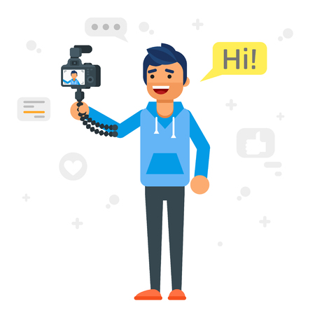 Vector flat style illustration of happy blogger man. Handsome man records video blog. Vlog concept.