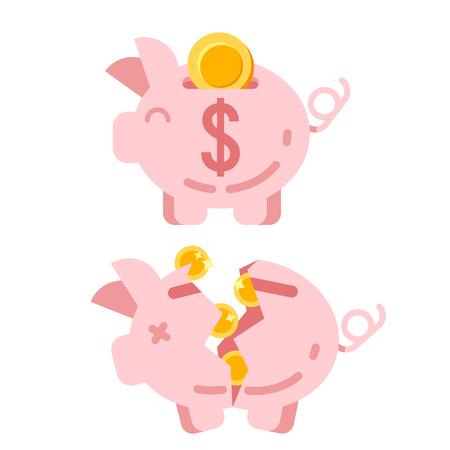 Wektor płaski styl ilustracja Skarbonka z złotymi monetami. Samodzielnie na białym tle. Ikona dla sieci web.