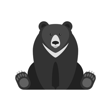 Vector flat style illustration of black bear. Icon for web. Isolated on white background. Stock Vector - 83404411