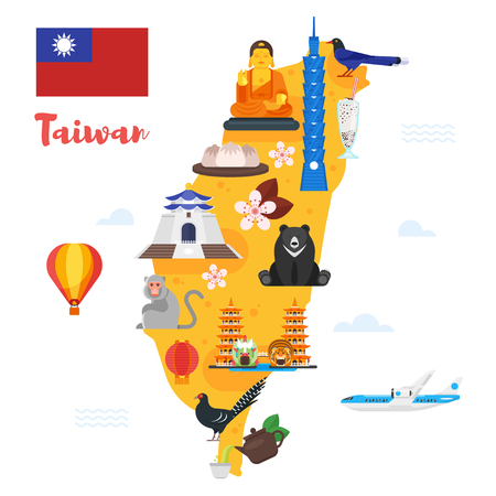 Vector flat style illustration of Taiwan map with cultural symbols. Isolated on white background. Vettoriali