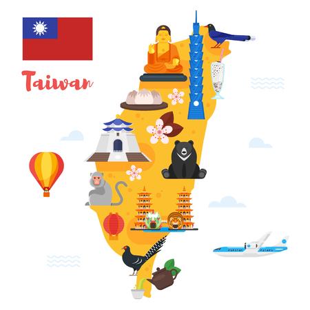 Vector platte stijl illustratie van Taiwan kaart met culturele symbolen. Geïsoleerd op een witte achtergrond. Stockfoto - 83409976