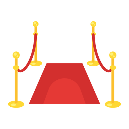 Vector flat style illustration of red carpet. Icon for web. Isolated on blue background. Stock Illustratie