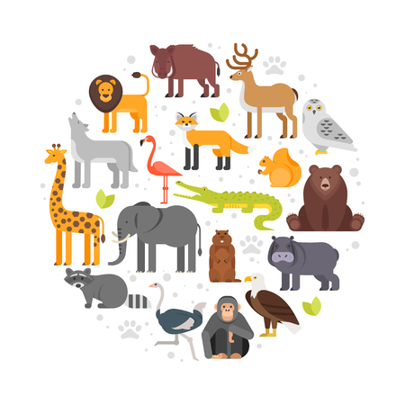 Vector flat style round composition of zoo animals icons. Isolated on white background.