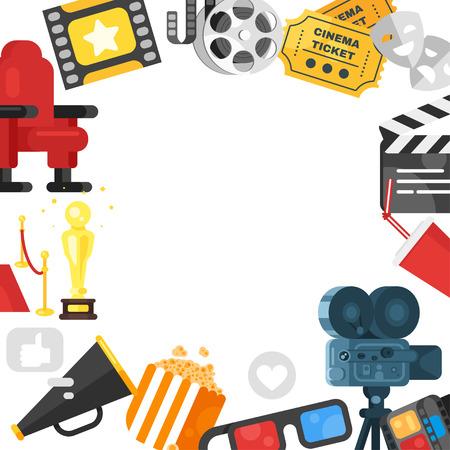 Vector platte stijl webbanner sjabloonontwerp met kleurrijke filmelementen rond. Stock Illustratie