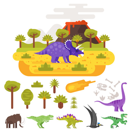 Vector flat style illustration of prehistoric landscape mountains and volcano with dinosaurs. Set of Jurassic icons animals and plants. Isolated on white background.