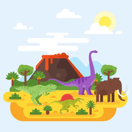 선사 시대 프리 산과 화산 공룡의 벡터 플랫 스타일 그림.