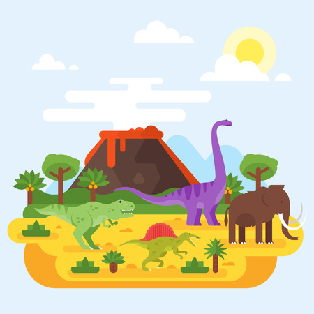Vector flat style illustration of prehistoric landscape mountains and volcano with dinosaurs. 向量圖像