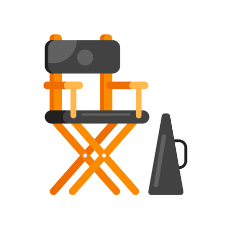 Vector flat style movie directors chair. Icon for web. Isolated on white background. Illustration