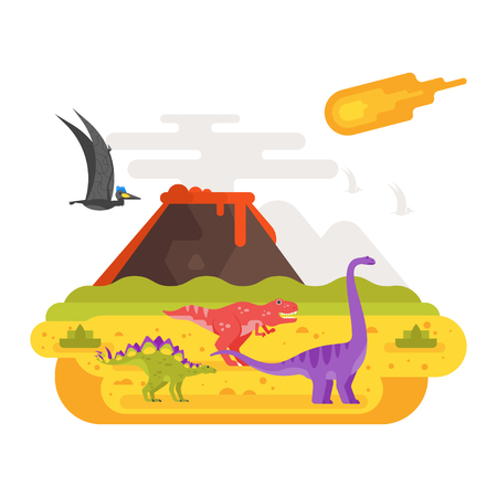 Vector flat style illustration of prehistoric landscape mountains and volcano with dinosaurs. Meteorite flying in the sky. Isolated on white background. Illustration