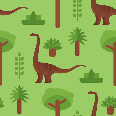 Vector flat style colorful seamless pattern with dinosaurs. Stock Vector - 83410020