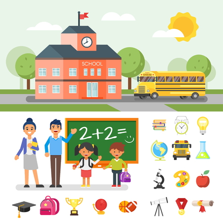 Vector flat style illustration of school building and yellow bus. Education related objects and characters.