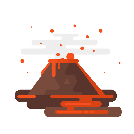 Vector flat style illustration of volcano eruption with smoke and lava. Isolated on white background.