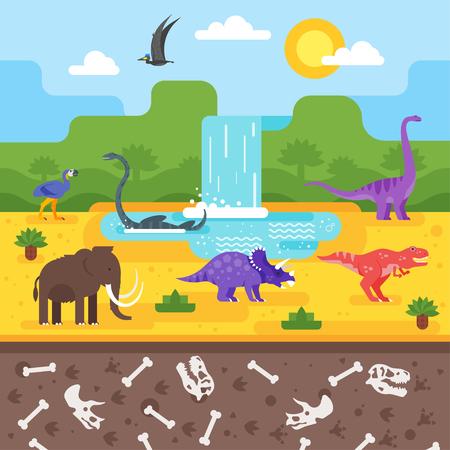 Vector platte stijl illustratie van prehistorisch landschap met dinosaurussen.